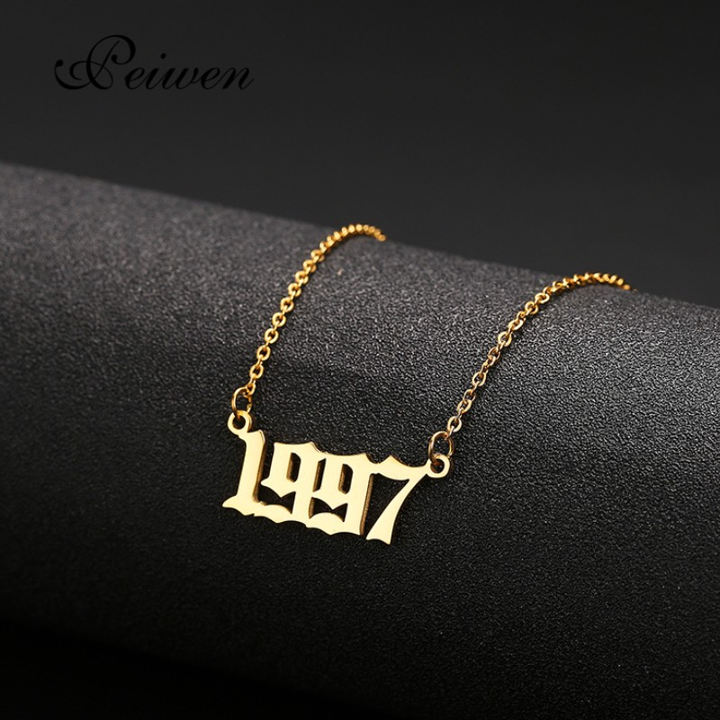 Special Date Old English Number Necklaces 1999 Birthday Gift Personalized Birth Year 1980-2019 Chokers Women Men Custom Jewelry