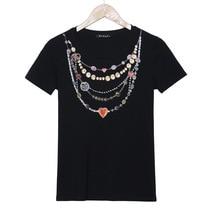 Aliexpress hotsale cotton T-shirt 3D Necklace print tee S119 vestidos black white tops Tees