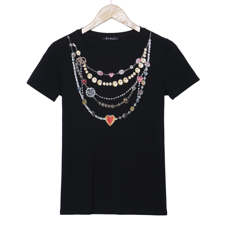 White t shirt express - Aliexpress Hotsale Cotton T Shirt 3d Necklace Print Tee S119 Vestidos Black White Tops Tees