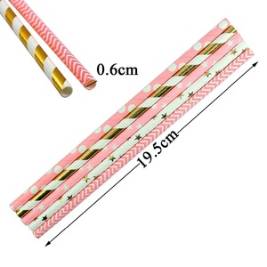 Image 3 - 25Pcs Rose Gold Striped Paper Drinking Straws Disposable Party Tableware Birthday Decoration Kids Wedding Supplies