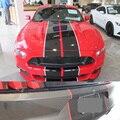 2015-2018 автомобильные наклейки для Ford Mustang  2 цвета  10 дюймов  двойные полосы  полосы  графические наклейки  модный капюшон  гоночная виниловая п...