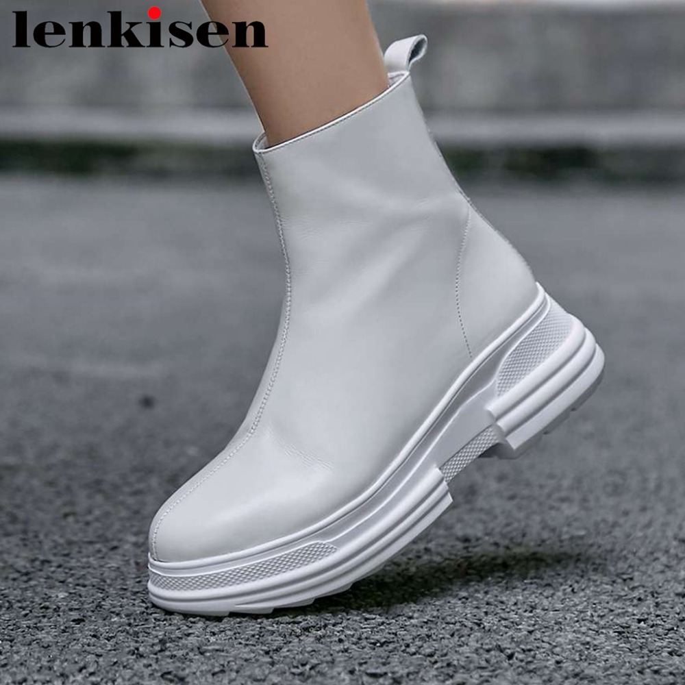 Lenkisen solid zipper natural leather round toe high thick bottom western boots high quality handmade female ankle boots L0f1Lenkisen solid zipper natural leather round toe high thick bottom western boots high quality handmade female ankle boots L0f1