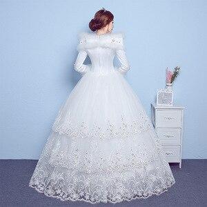 Image 2 - VLNUO NISA 긴 소매 겨울 웨딩 드레스와 목도리 레이스 Appliques 스팽글 보이지 않는 지퍼 신부 가운 Vestido De Novias 20