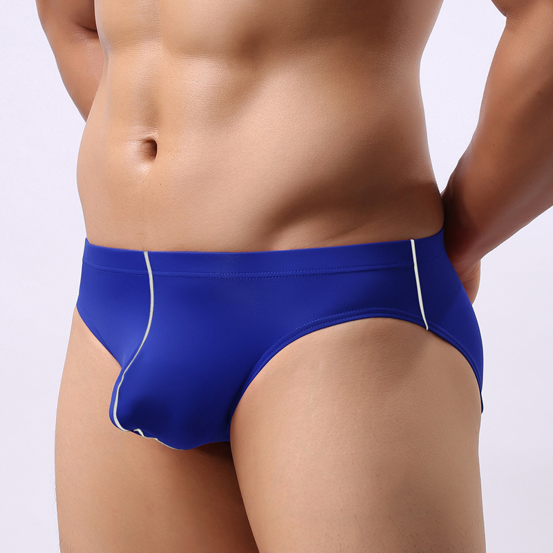 Buy Sexy Men Stripe Ice Silk U Convex Pouch Briefs G-string Underwear Smooth Breathable Thongs Low Rise Seamless Gay Wear FX06