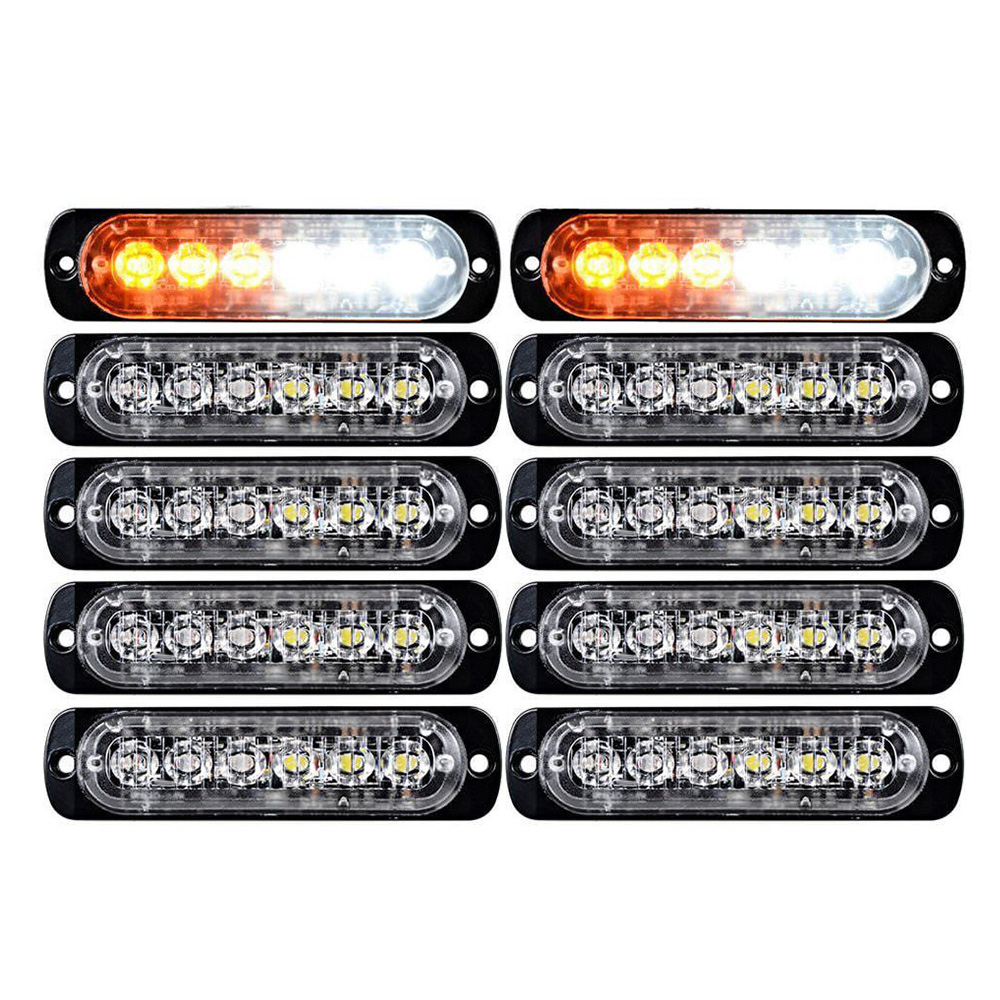 10pcs Amber+White 6 LED Emergency Hazard Warning Flash Strobe Light Bar Lamps N1