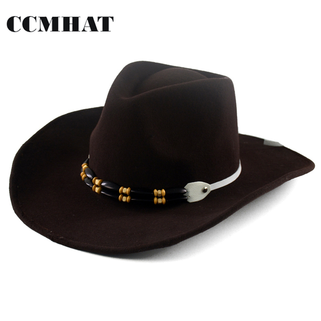 CCMHAT Black 100% Wool Cowboy Hat For Men Western Sombreros Vaquero Winter Cowboy  Hat For Women Solid Adult Wool Cowboy Hat Mens 82b0e80bfe7a