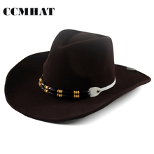 CCMHAT Black 100% Wool Cowboy Hat For Men Western Sombreros Vaquero Winter Cowboy Hat For Women Solid Adult Wool Cowboy Hat Mens