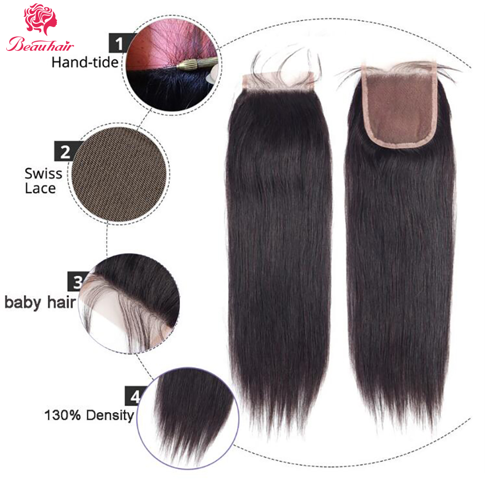 Beau Human Hair Bundles Dengan Penutupan Renda Frontal Malaysia - Pasokan kecantikan - Foto 6