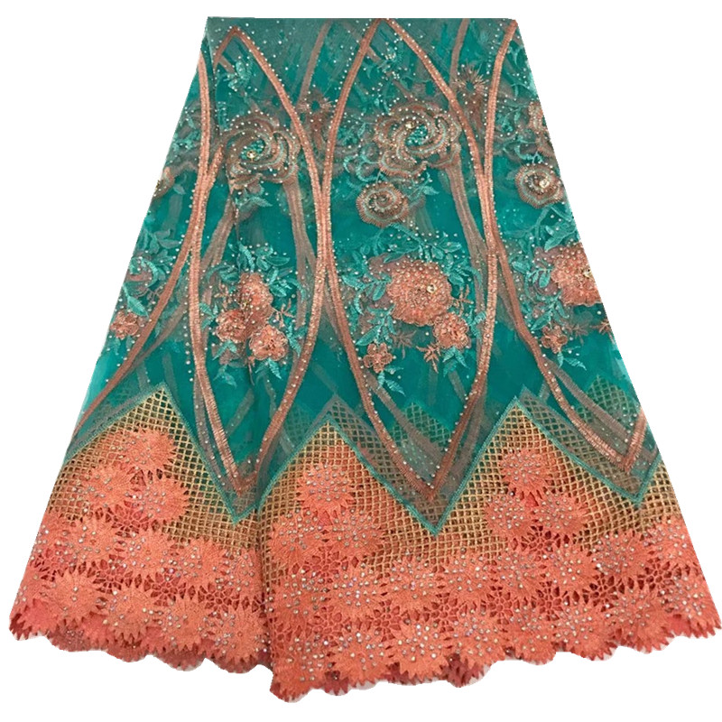 Latest Style 2018 African Lace Fabric With Stones Nigerian Wedding Embroidered French Tulle Lace Material For