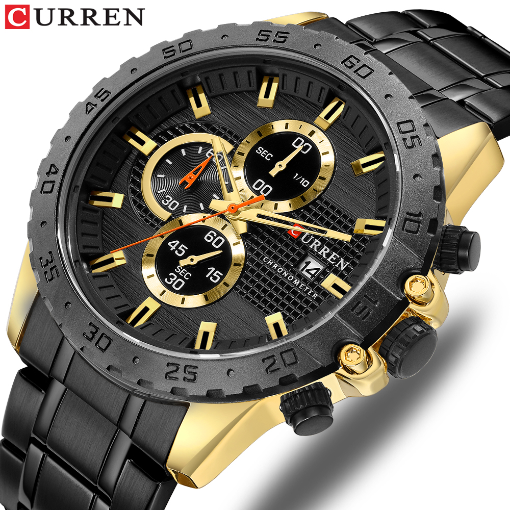 Luxury Brand CURREN Quartz Watches Stainless Steel Chronograph Wristwatch Sporty Mens Clock Male Casual Business Quartz Watch