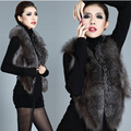 Ukraine Women Fake Fur Vest Waistcoat Jacket Warm Coat Fourrure Black long front short back Elegant Gothic punk 2xl 3xl Mink fox