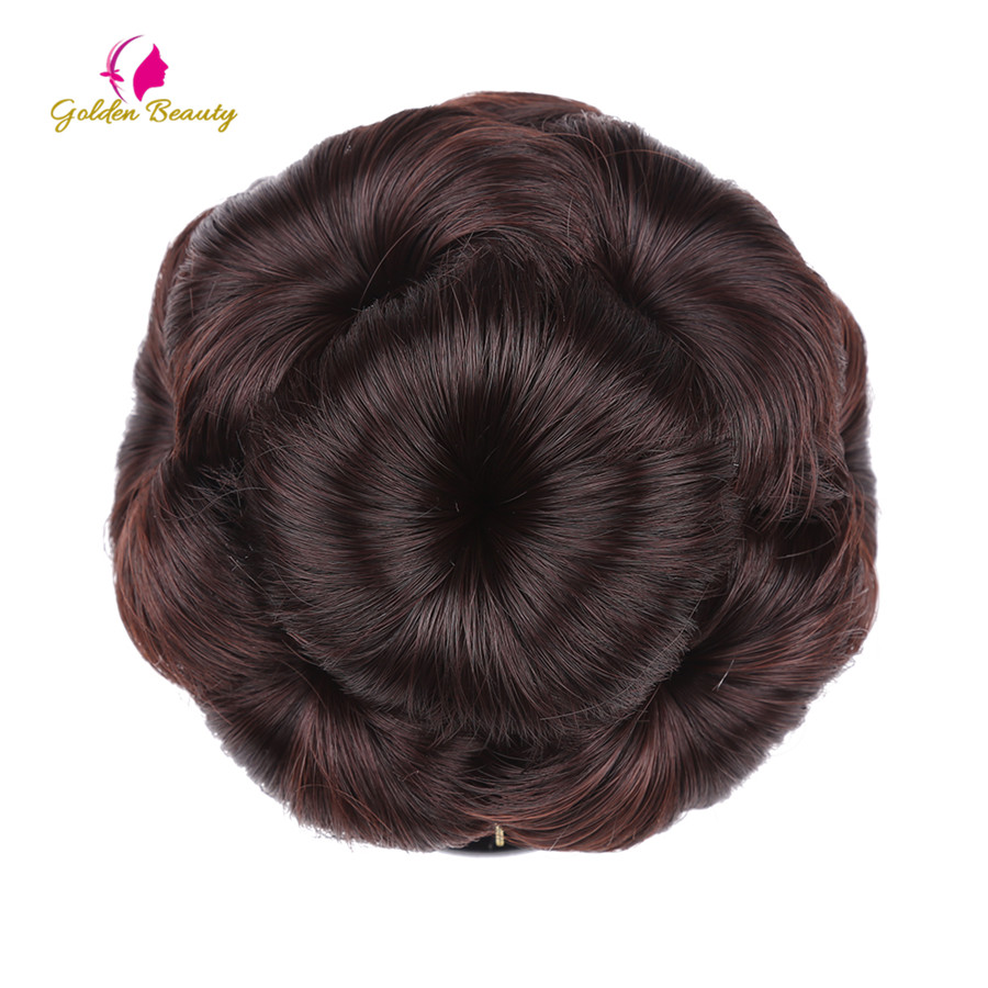 Golden Beauty Women's Synthetic Hair Curly Chignon Bride Wedding Clip In Hairpiece Extensions