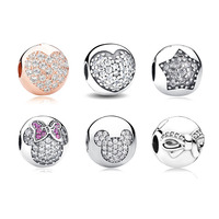 925 Sterling Silver 14K Gold Plated Love Of My Life Clip Charm Beads Fit Original Pandora