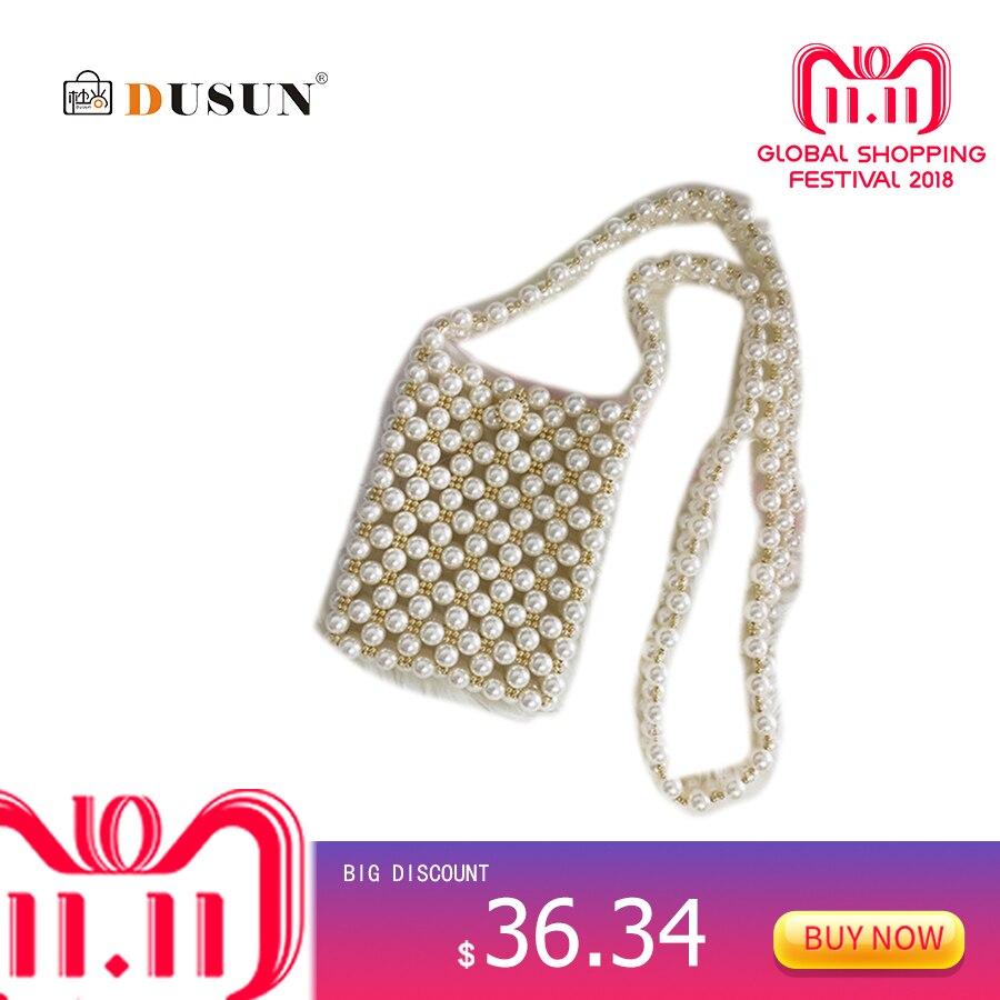 DUSUN Women's Handbags Luxury Handbags Women Bags Designer Retro Hollow Out Pearl Bag Party Elegant Shoulder Bag Bolsa Feminina elegant faux zircon hollow out anklet for women