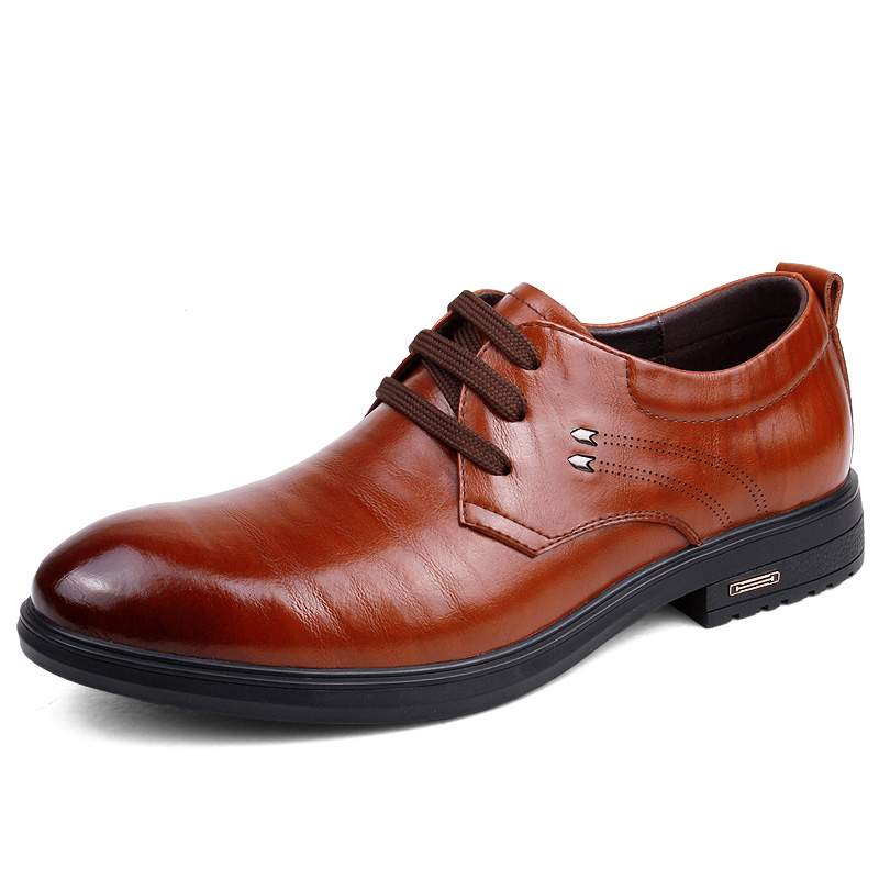 Men's Leather Shoes Ofords Casual Genuine Leather men casual shoes Lace Up Business Shoes Black Brown Size 38-44 zdrd new fashion genuine leather men business casual shoes british low top lace up suede leather mens shoes brown red men shoes