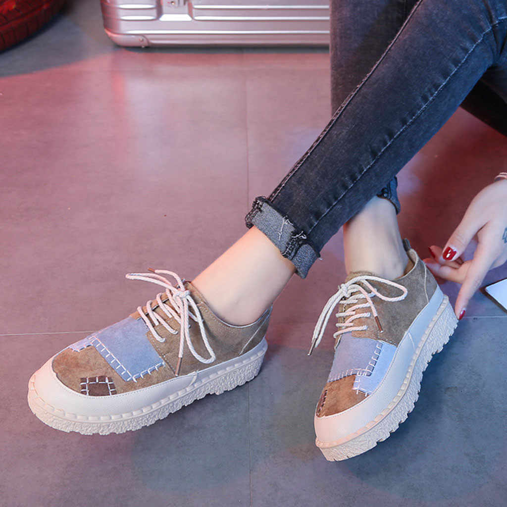 YOUYEDIAN shoes woman Ladies Fashion Round Toe Flat Patchwork Casual Loafers Sneaker Shoes chaussures femme buty damskie #3