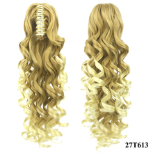Soowee 24inch Deep Wave Blonde Ombre Hair Extensions My Little Pony Tail Claw Ponytail Hair on Clips Hairpins Women Fairy Tail
