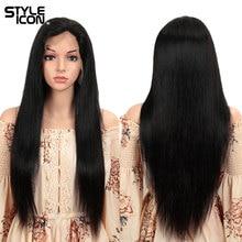 Perruque naturelle lisse Styleicon Hair, cheveux humains, Lace Front Wig, 4x4, 26 pouces, pour femmes