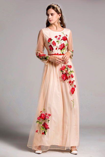 Embroidery Floral Elegant Prom Maxi Runway Dresses