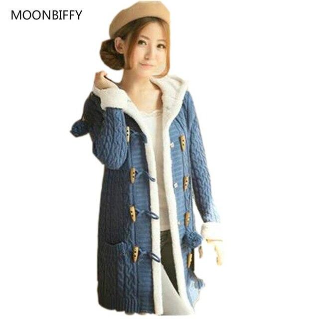 a21a97ea3 Nova Maternidade Inverno Camisola Das Mulheres casaco de manga Comprida  Pure color Único Breasted Com Capuz
