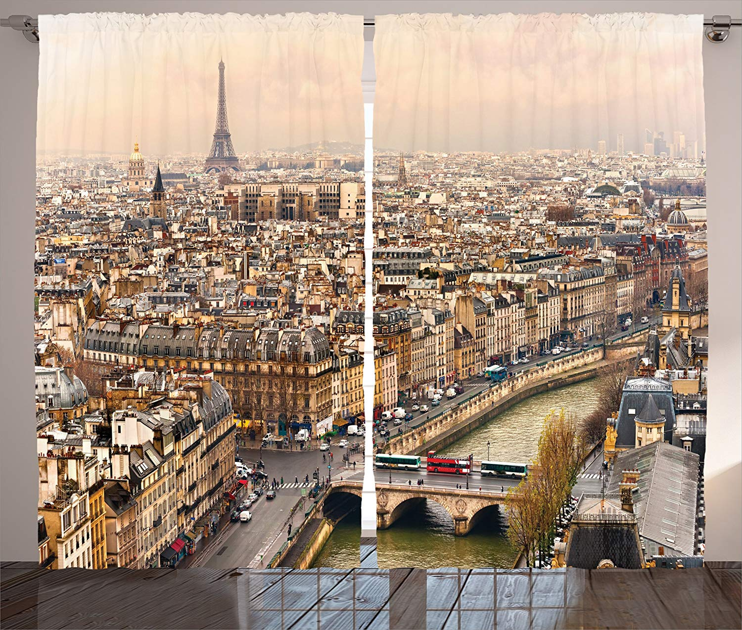 Eiffel Tower Decor Curtains Paris Streets Busy Day Buildings Bridge River City Symbol Horizon Photography Print Living Room