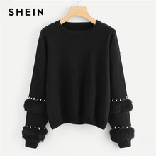 SHEIN Black Highstreet Elegant Pearl Beading Faux Fur Detail O-Neck  Pullovers Jumper 2018 Autumn Casual Campus Women Sweaters c5982675c