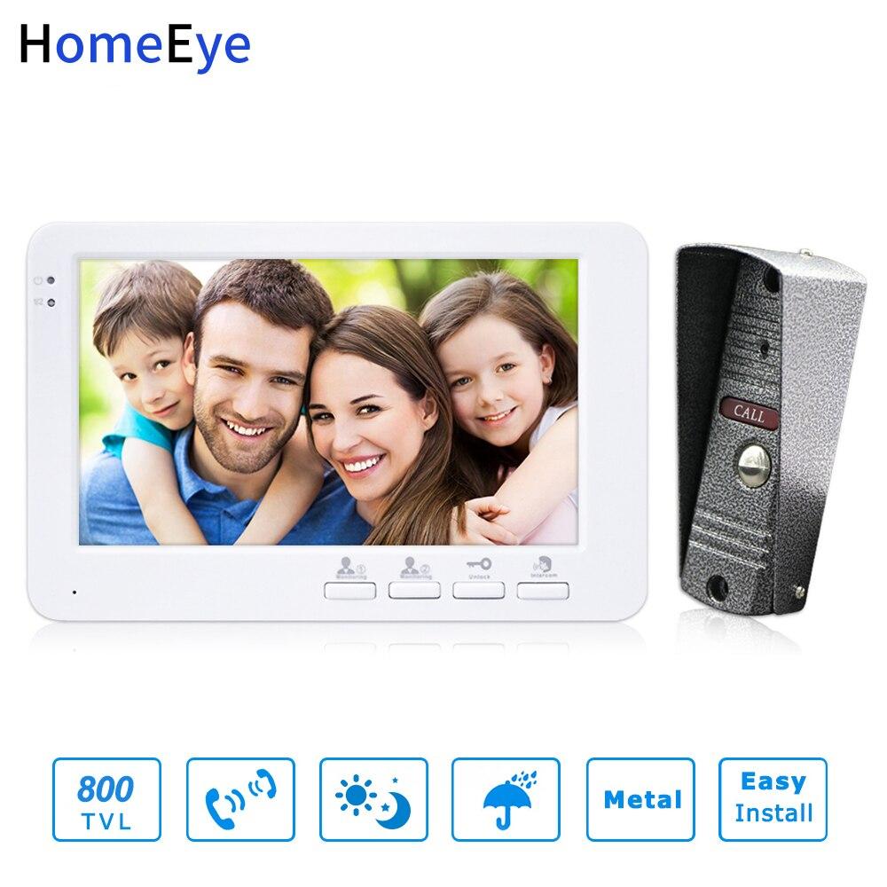 HomeEye 7inch Video Door Phone Video Intercom Doorbell 800TVL IP65 Rainproof OSD Menu Security Home Access System Cheap Price