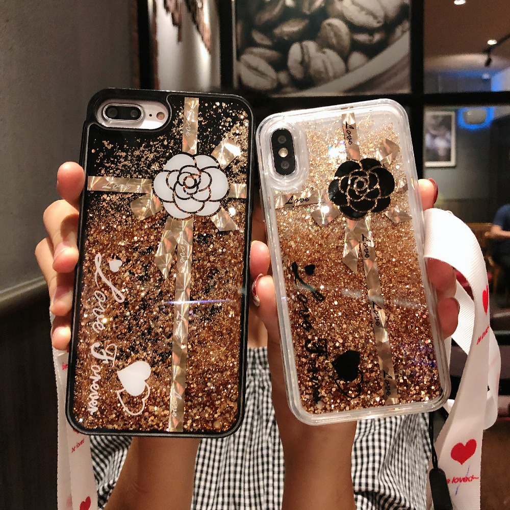 Bausine Luxury Glitter Liquid Sand Quicksand Star Case For Iphone 6 6s 7 8 Plus X Xs Xs Max 10 Transparent Anti-drop Hard Cover Half-wrapped Case
