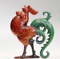 Рисунок статуи Скульптура для дома современный Старый Античная Медь статуя деньги курица петухи Скульптура