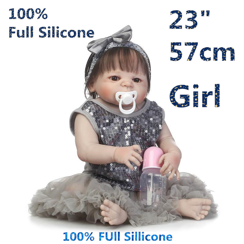High Realistic 23 Newest Doll Reborn Full Silicone Brinquedo Baby Dolls Alive Menina Bonecas Girl Reborn Doll RB16-03H10 christmas gifts in europe and america early education full body silicone doll reborn babies brinquedo lifelike rb16 11h10