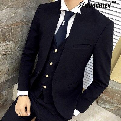 Classic Chinese Collar Men Suit 3pcs Set Slim Fit Wedding Suits Latest Coat Pant Design 2018