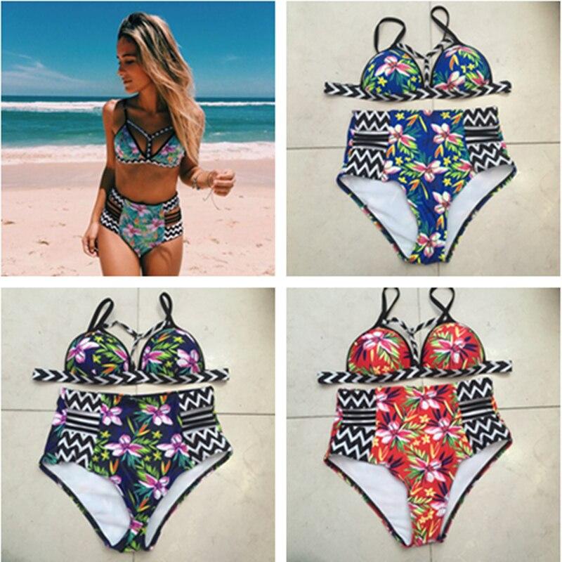QIANG YI 2018 Summer New Women Adjustable Strap Push Up Sexy Bikini Set Hollow Swimsuit Swimwear Plus Size Swimming Suit Beach