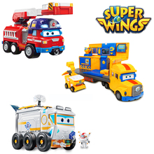 Super Wings Space Exploration Scene Shop Rescue Vehicle Fire Truck Action Figures Childrens Deformation Car Toys Gift 2A03