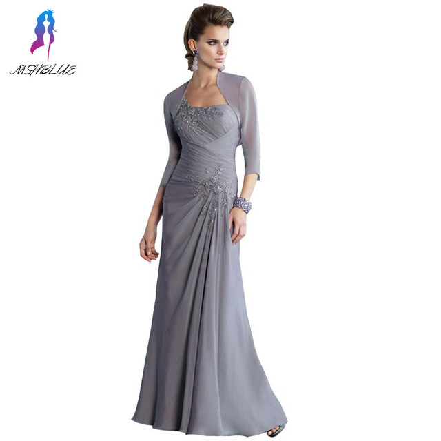 2017 Elegante Mãe Cinza dos Vestidos de Noiva Chiffon Com Jaqueta de Um Ombro Vestido de Noite Das Mulheres Vestido vestido De Madrinha