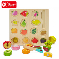 Classic World children kitchen Let Cut Multifunctional Fruit Jigsaw Puzzle Fruit Game Montessori Educational Toy Gifts For Kids