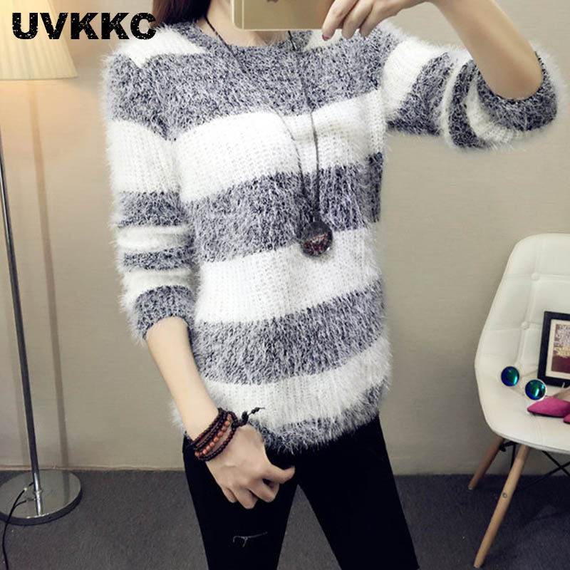 Mohair Pullover 2019 Autumn Winter Womens O Neck Sweater Women Hedging Loose Pullover Casual Sweater Cheap Wholesale Drop Ship