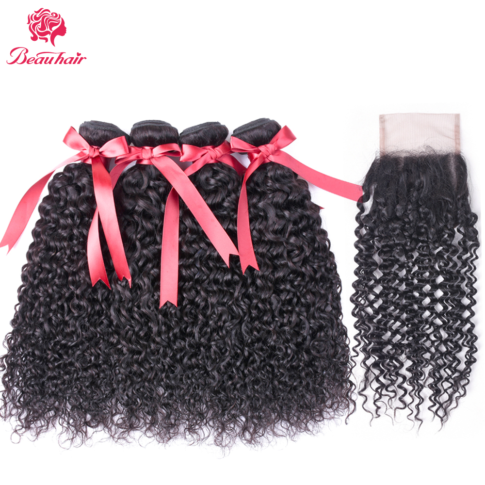 Indian Beau Hair Kinky Curly Hair Weave 4 Bundles With Closure Top Human Hair Bundles With Closure 5pcs/lot Deals Weft Non Remy