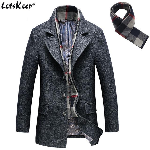 LetsKeep Winter Wool long Overcoat Men Woolen Jacket Coat Men's Business Slim The Long Section trench coat Plus size , MA522