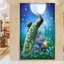 Home Decoration Moon Glazed Peacock Figure Decorative Diamond Painting Full Diamond Paste Cross Stitch Living Room paintings