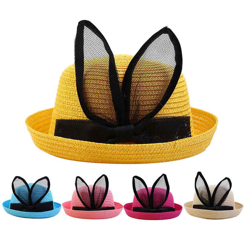 Childrens Innovative Lace Bunny Ears Travel Sun Protection Tilted Brim Sun Hat Beach Bonnet