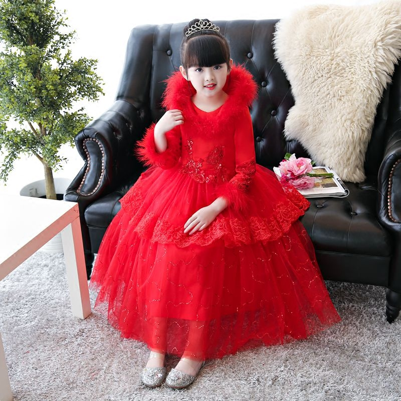Autumn Winter New Style Children Girls Thick Warm Lace Princess Dress Girls Birthday Wedding Party Ball Gown Dress Pageant Dress korean version of the girls winter velvet dress children s lace dress princess dress new child dress age from 3 9t