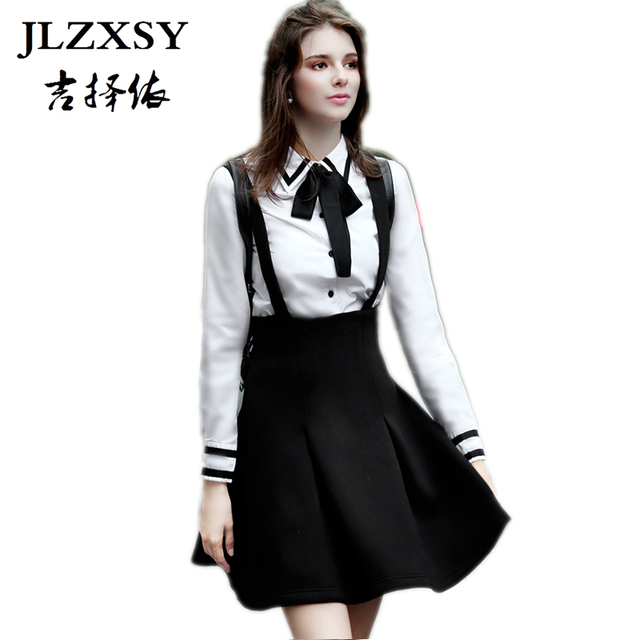 dcbe9d76c6 JLZXSY New Fashion Women Elegant Strap Skirt High Waist Suspender Skirt  Pleated Swing A Line Ball