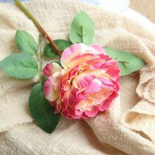 Sztuczne kwiaty Western rose rdzeń piwonie bukiet flores do dekoracji domu bukiety ślubne fałszywe kwiaty tanie tanio Jedwabiu Piwonia Ślub Bukiet kwiatów FL782919-93 LACESVOGUE