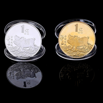 2019 Lucky Series Pig Silver Plated Commemorative Coin Birthday Gift Tai Chi Metal Challenge Silver Coins Collectibles image