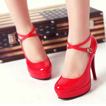Fashion 2016 New Heels 10CM patent leather round toe women pumps Party/Wedding/Work sexy ladies stiletto shoes 8009