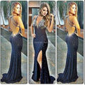 2017 new arrival sexy v neck backless longas sereia vestidos de baile custom made vestidos de noite de cristal do partido para a graduação dress