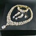 NEW FASHION Retro luxury crystal zircon golden necklace earring bracelet ring wedding bride banquet formal dress  jewelry set
