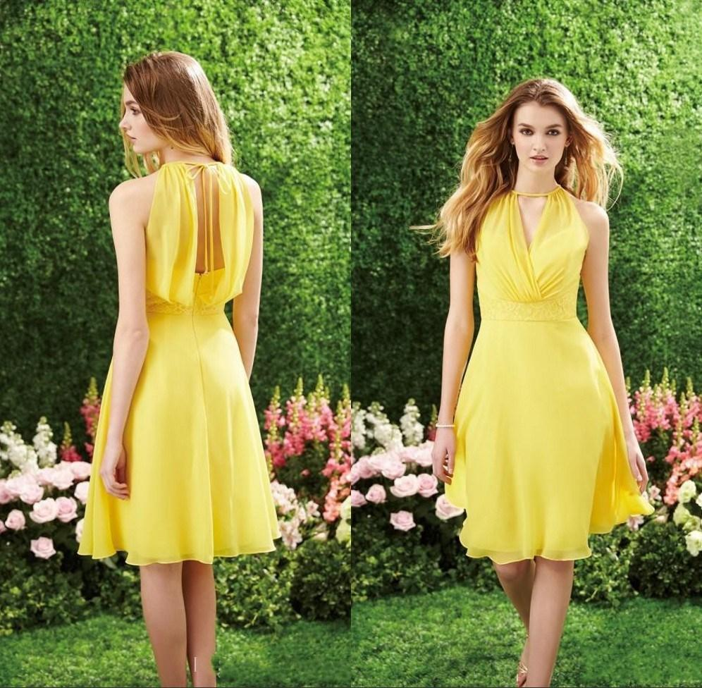 Fashion yellow modest bridesmaid gowns short a line crew for Country wedding party dresses