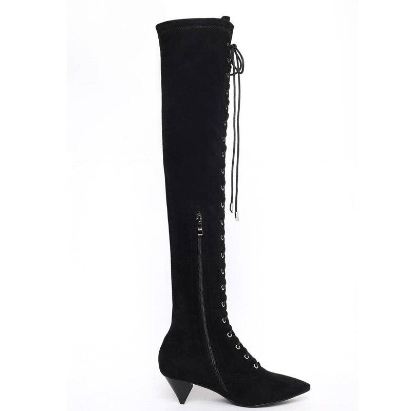 Haute Memunia Pointu Sur Le Femmes Noir Arrivée Zip Bal Chaussures 2018 Cuisse Hiver Mode Bottes Nouvelle Genou De Automne Bout Lace Up IPwpBIqnr