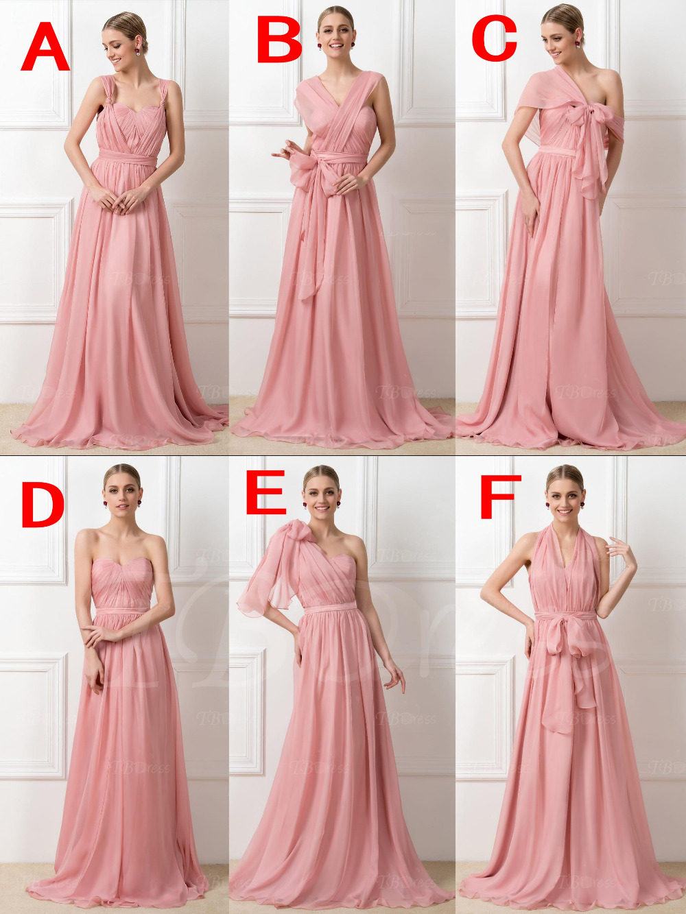 Chiffon Convertible Ruched Long Bridesmaid Dresses 2016 Lady 6 Styles Wedding Party Gowns Light Pink Silver Purple In From Weddings